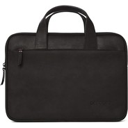 Decoded Waxed Leather Slim Bag voor Macbook 13 /16  - Black