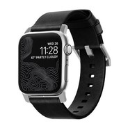 Nomad Strap Modern leather strap for Apple Watch 42/44mm - Black w/Silver