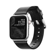 Nomad Strap Modern leather strap for Apple Watch 38/40mm - Black w/Silver